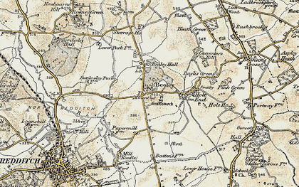 Old map of Beoley in 1901-1902