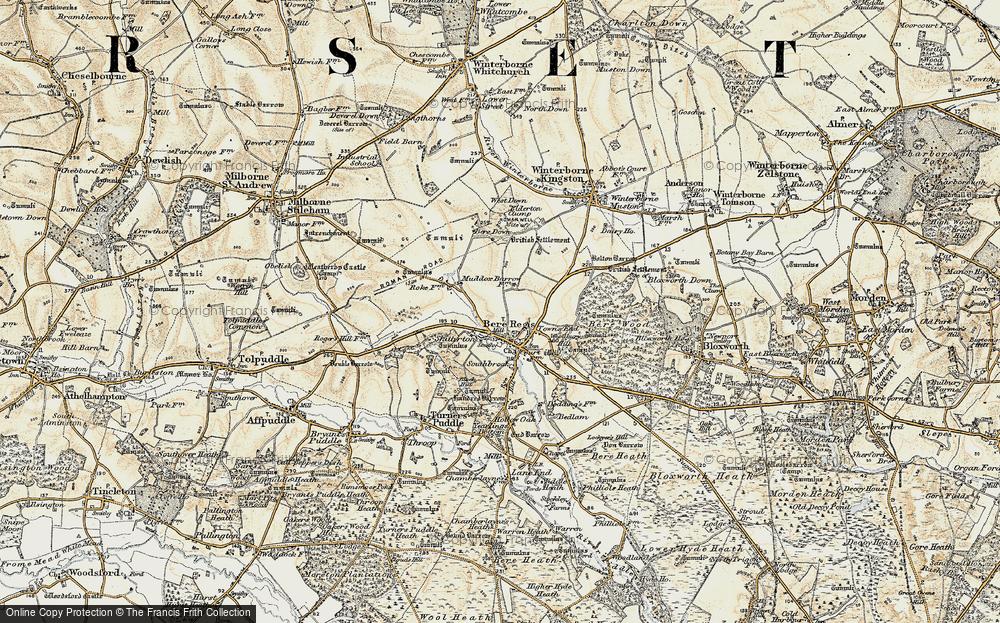 Old Map of Bere Regis, 1897-1909 in 1897-1909
