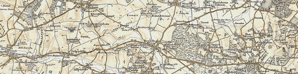 Old map of Bere Regis in 1897-1909