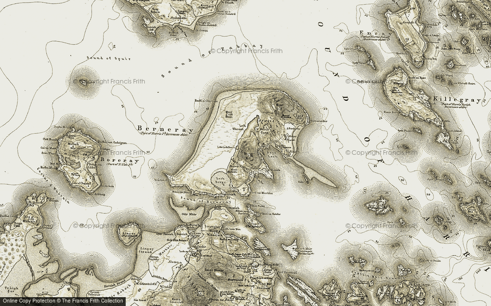 Old Map of Berneray, 1908-1911 in 1908-1911