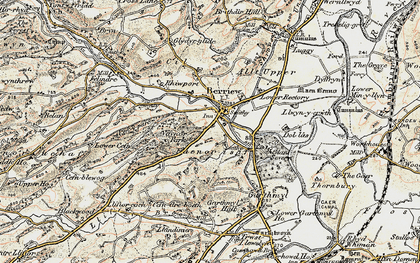 Old map of Berriew in 1902-1903