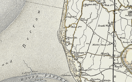 Old map of Berrow in 1899-1900