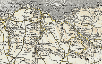 Old map of Berrynarbor in 1900