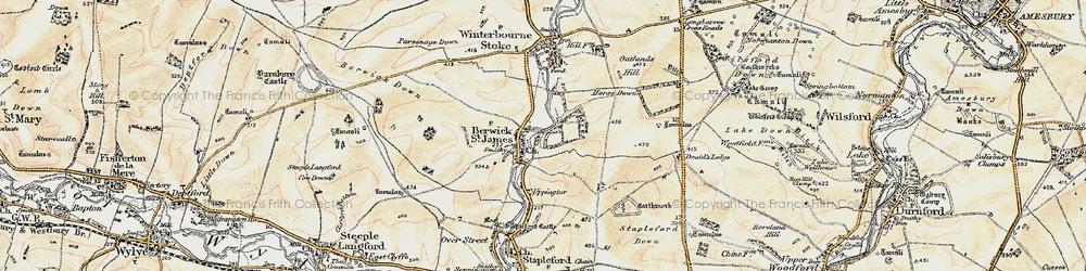 Old map of Berwick St James in 1897-1899