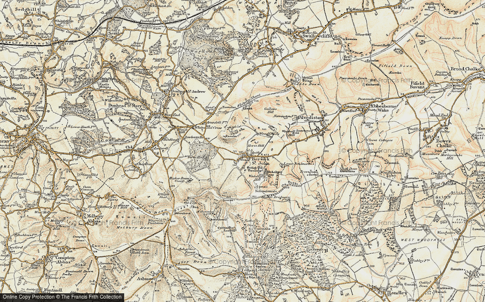 Old Map of Historic Map covering Woodlands in 1897-1909