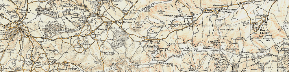 Old map of Winkelbury in 1897-1909