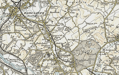 Old map of Besses o' th' Barn in 1903