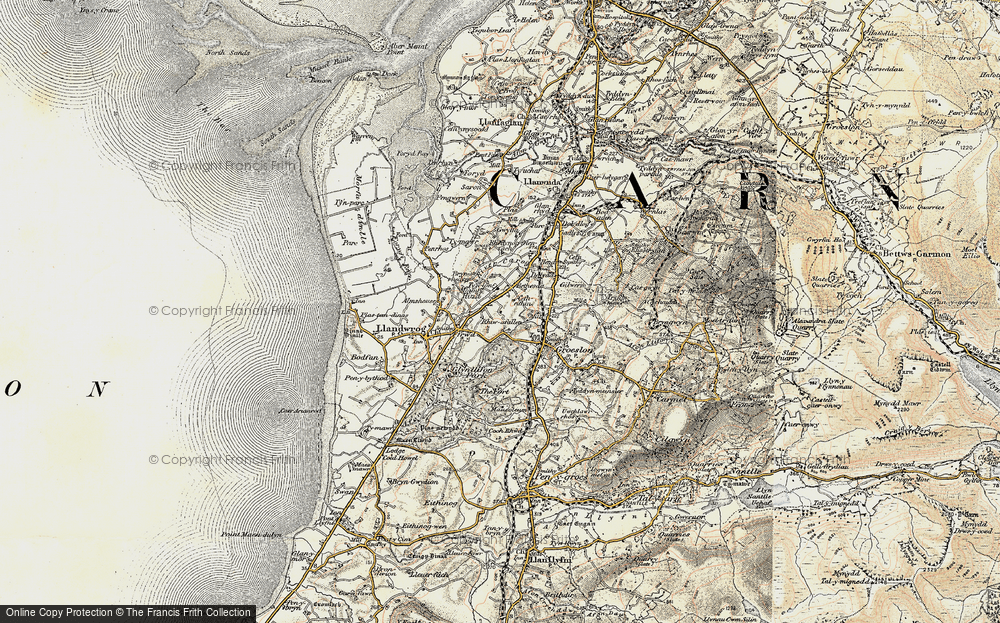 Old Map of Historic Map covering Afon Llifon in 1903-1910