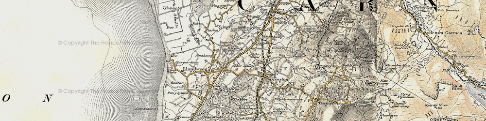 Old map of Afon Llifon in 1903-1910