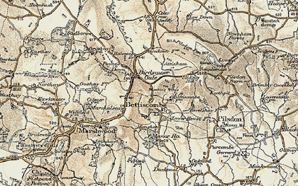 Old map of Bettiscombe in 1898-1899
