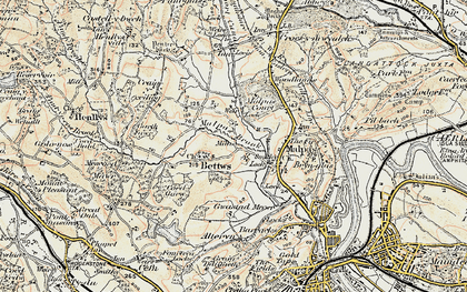Old map of Bettws in 1899-1900