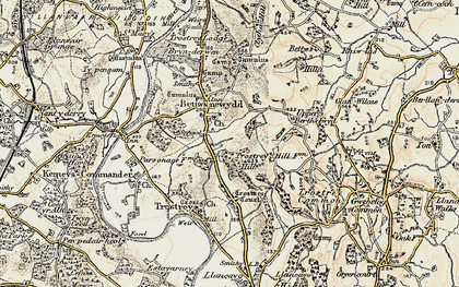 Old map of Bettws Newydd in 1899-1900