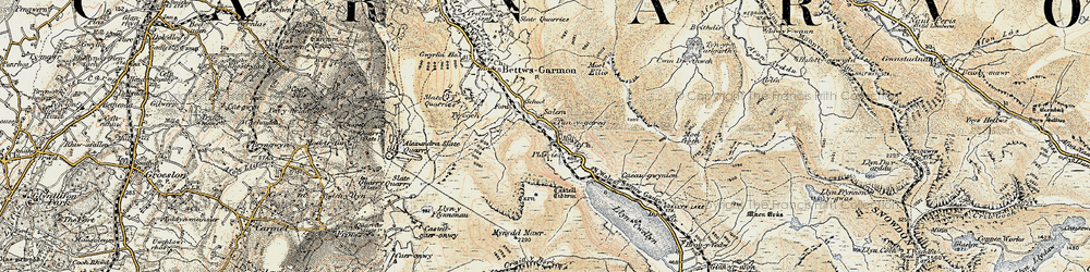 Old map of Betws Garmon in 1903-1910