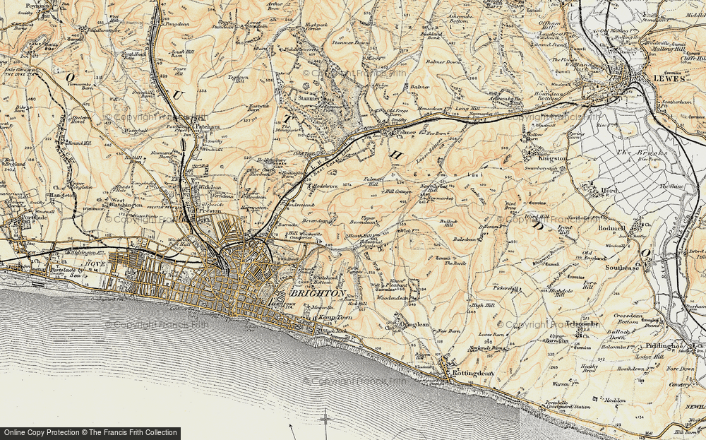 Old Map of Bevendean, 1898 in 1898