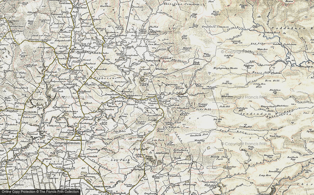 Old Map of Historic Map covering Ashy Cleugh in 1901-1904
