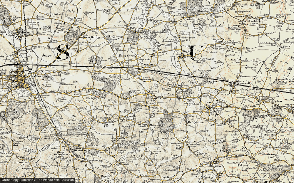 Old Map of Historic Map covering Thurston Planche in 1899-1901