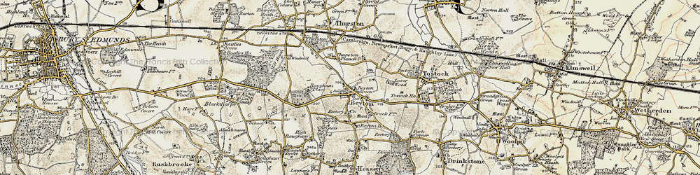 Old map of Thurston Planche in 1899-1901