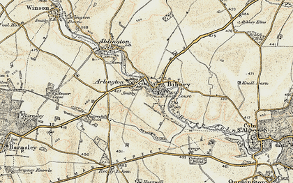 Old map of Bibury in 1898-1899