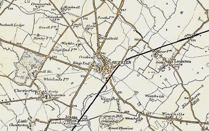 Old map of Bicester in 1898-1899