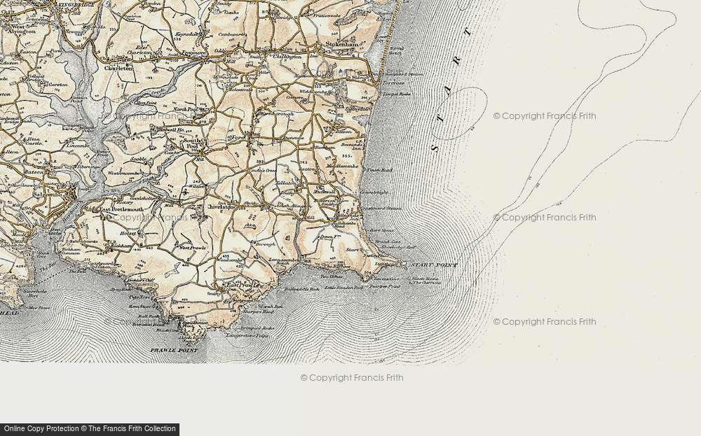 Old Map of Historic Map covering Lannacombe Beach in 1899