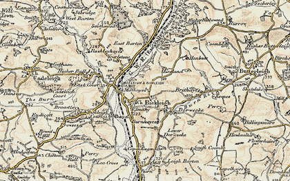 Old map of Bickleigh in 1898-1900