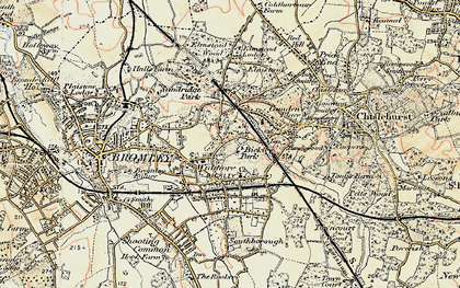 Old map of Bickley in 1897-1902
