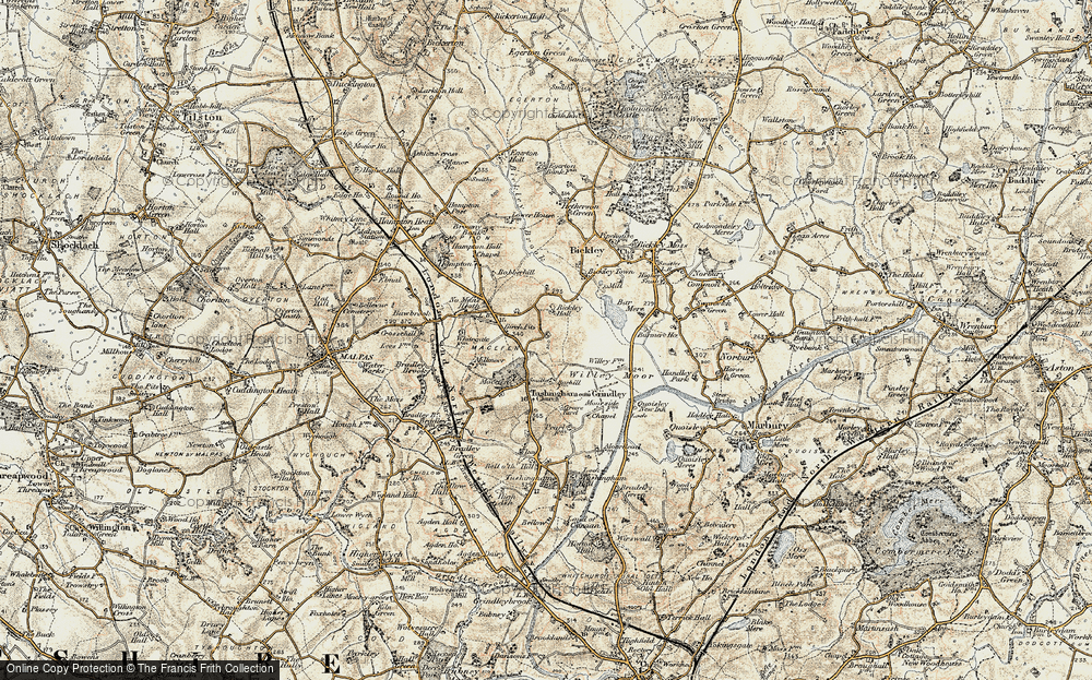 Old Map of Historic Map covering Bar Mere in 1902