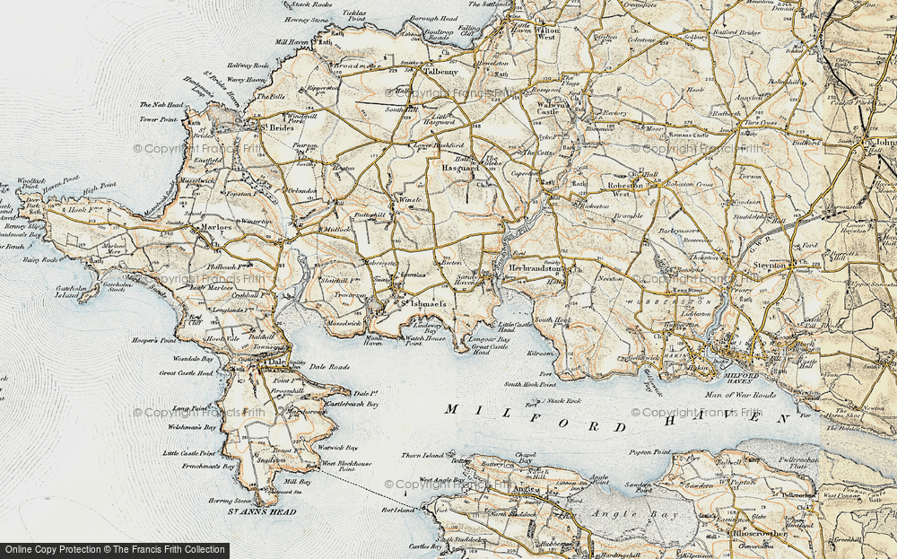 Old Map of Historic Map covering Lindsway Bay in 0-1912