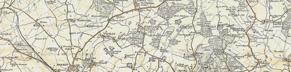 Old map of Whitfield Wood in 1898-1901