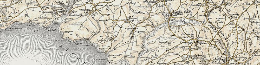 Old map of Bigbury in 1899-1900