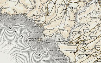 Old map of Bigbury-on-Sea in 1899-1900