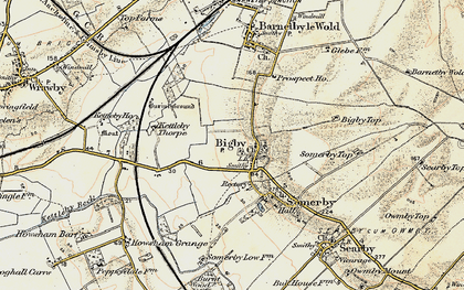 Old map of Bigby in 1903-1908