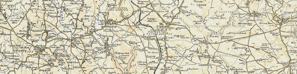 Old map of Wolfscote Hill in 1902-1903