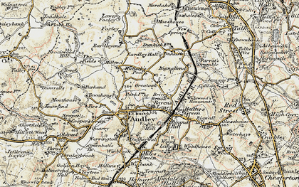Old map of Bignall End in 1902