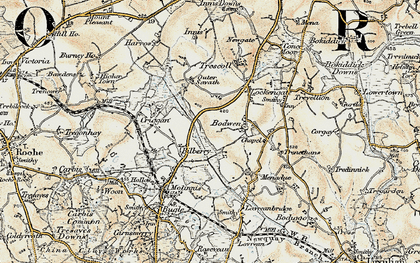Old map of Bilberry in 1900