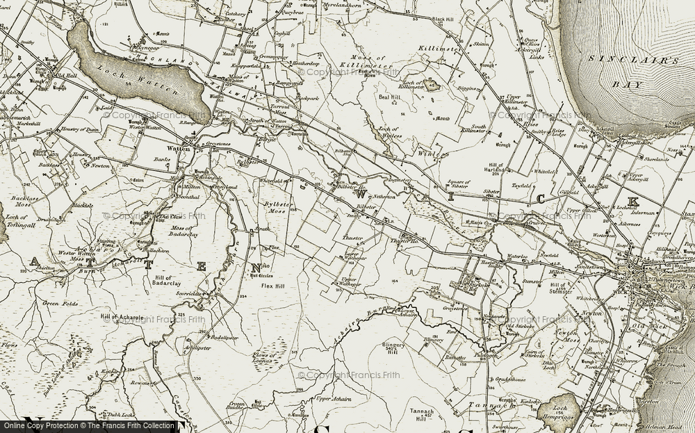 Old Map of Historic Map covering Achairn in 1911-1912