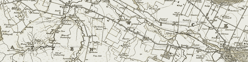 Old map of Achairn in 1911-1912