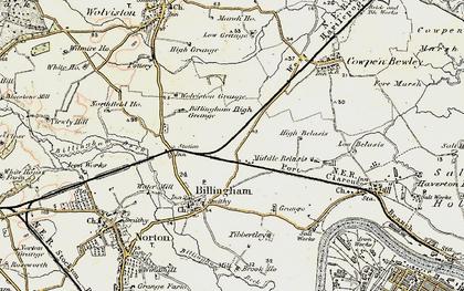 Old map of Billingham in 1903-1904