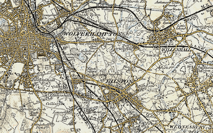 Old map of Bilston in 1902