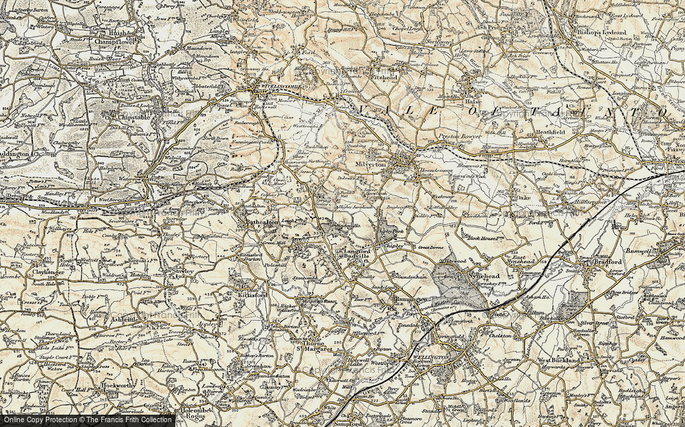 Old Map of Historic Map covering Langford Heathfield in 1898-1900