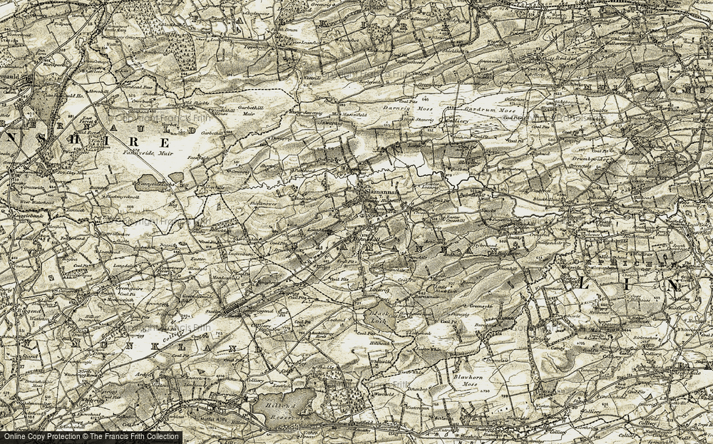 Old Map of Historic Map covering Balcastle Ho in 1904-1905