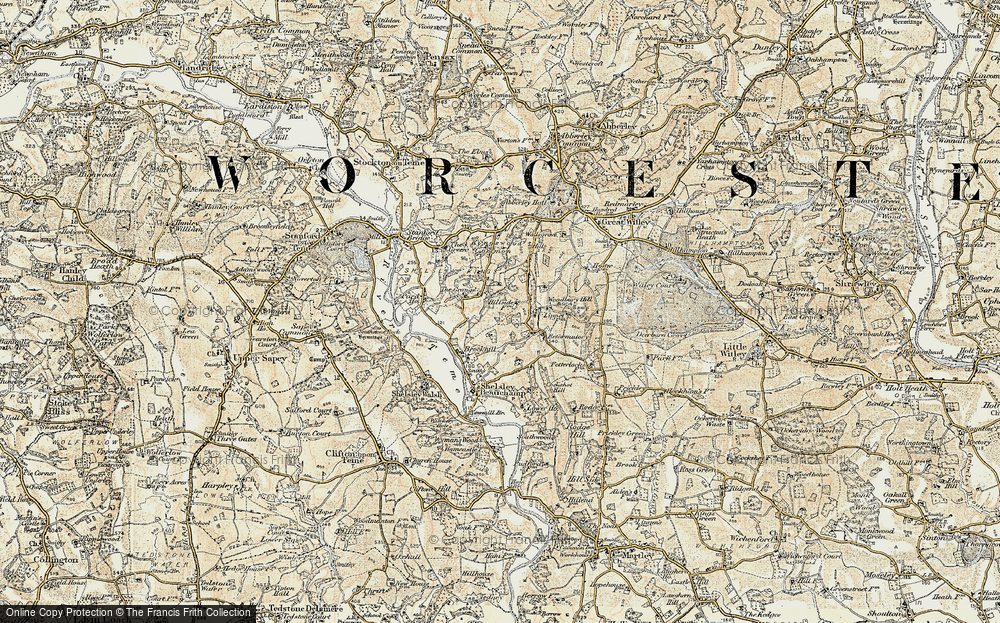 Old Map of Historic Map covering Woodbury Hill in 1899-1902