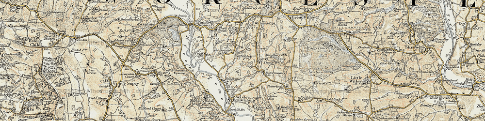 Old map of Woodbury Hill in 1899-1902