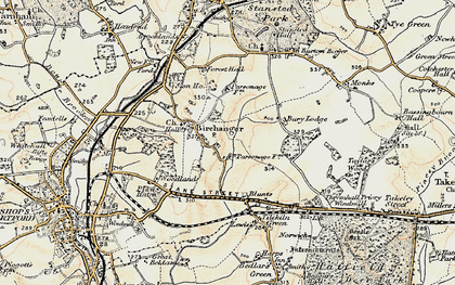 Old map of Birchanger in 1898-1899
