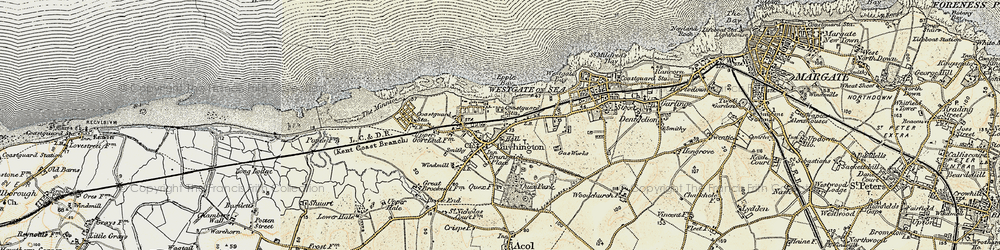 Old map of Birchington in 1898-1899