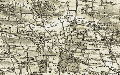 Old map of Birkhill in 1907-1908