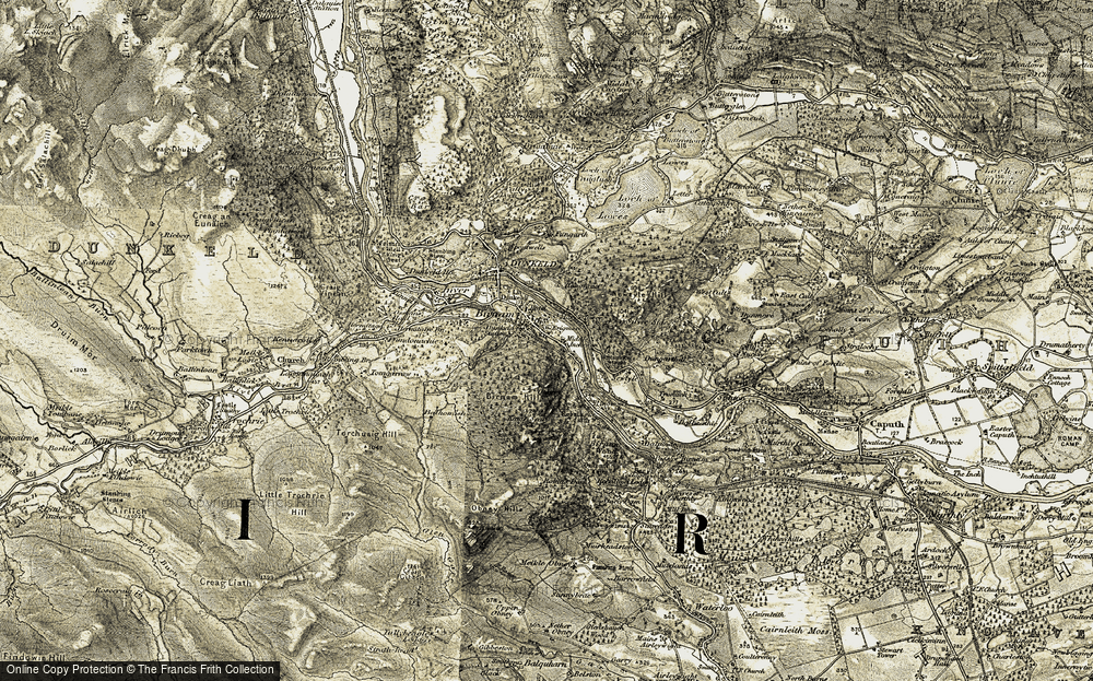 Old Map of Historic Map covering Letter in 1907-1908