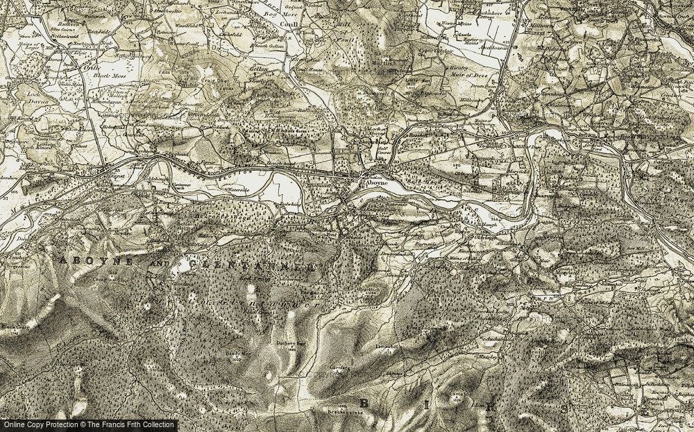 Old Map of Historic Map covering Allt Dinnie in 1908-1909