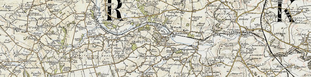 Old map of Birstwith in 1903-1904