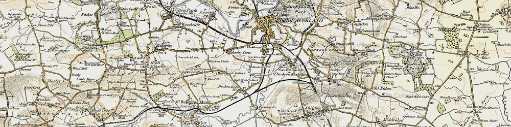 Old map of Bishop Auckland in 1903-1904